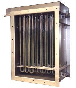 Calentador de conducto de aire rectangular con elementos calefactores tubulares