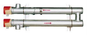 Calentador de circulación de fluido con 2 carcasas